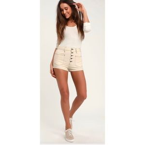NEW Free People Bridgette Cream Button-fly shorts